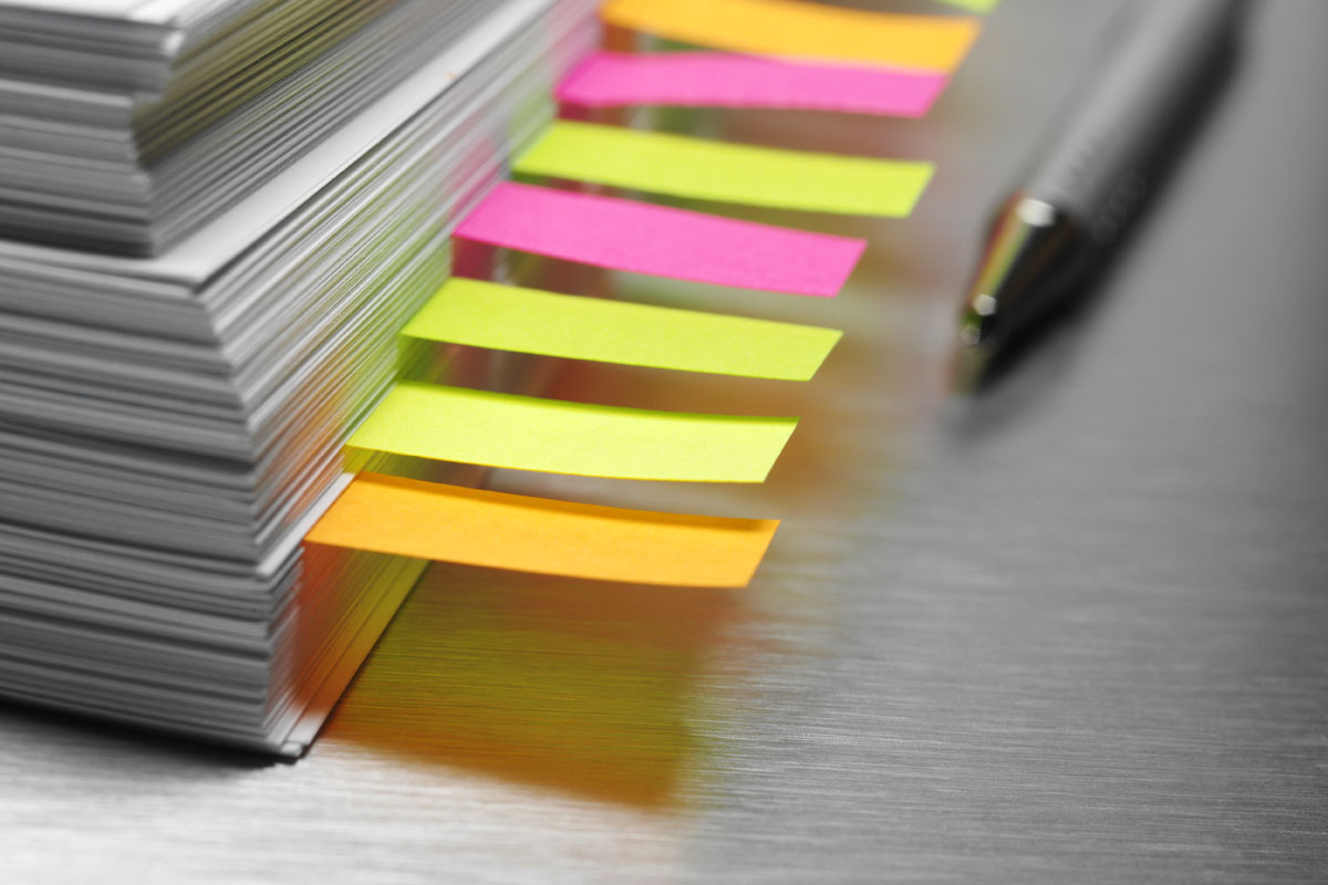 Manuscript with sticky notes