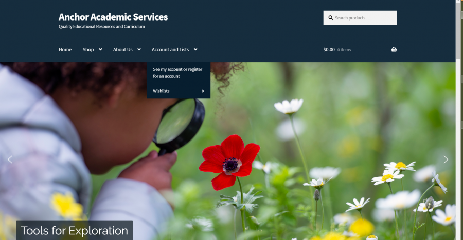 Anchor Academic Services Bookstore Ecommerce Website