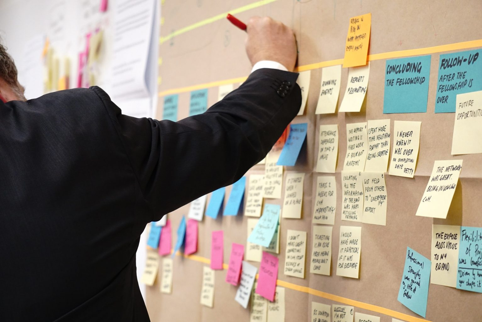 person writing on postits on a project board